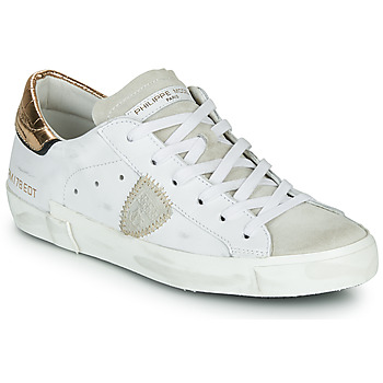 Schuhe Damen Sneaker Low Philippe Model PARIS X VEAU CROCO Weiss / Gold