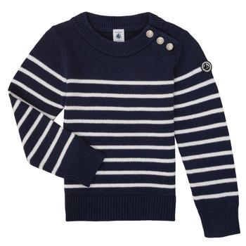 Kleidung Kinder Pullover Petit Bateau LOX Marine / Weiss
