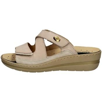 Schuhe Damen Pantoffel Robert 32822-2 WEISS UND BEIGE