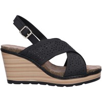 Schuhe Damen Leinen-Pantoletten mit gefloch Refresh 72206 Negro
