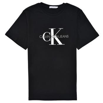Kleidung Kinder T-Shirts Calvin Klein Jeans MONOGRAM Schwarz
