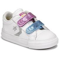 Schuhe Mädchen Sneaker Low Converse STAR PLAYER 2V GLITTER TEXTILE OX Weiss / Blau / Rose