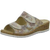 Schuhe Damen Pantoffel Longo Pantoletten Bequem 1044756 multi beige