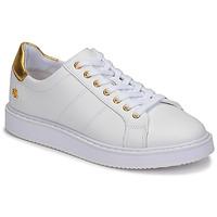 Schuhe Damen Sneaker Low Lauren Ralph Lauren ANGELINE II Weiss / Gold