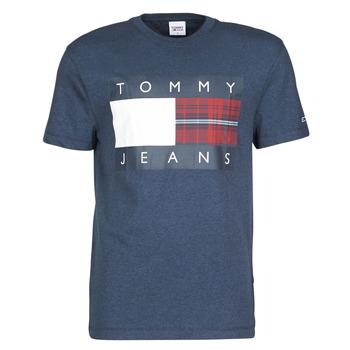 Kleidung Herren T-Shirts Tommy Jeans TJM PLAID CENTRE FLAG TEE Marine