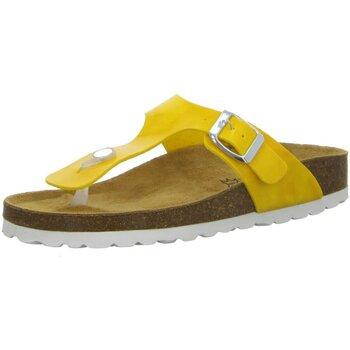 Schuhe Damen Zehensandalen Longo Pantoletten Tieffußbett-Pantolette,sonne 1043023 gelb