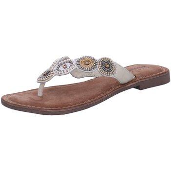 Schuhe Damen Zehensandalen Lazamani Pantoletten Pantolette bis 30mm Absatz 75.451 weiß