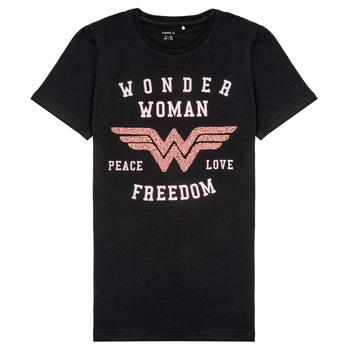 Kleidung Mädchen T-Shirts Name it NKFWONDERWOMEN Schwarz