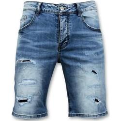 Kleidung Herren Shorts / Bermudas Enos Kurze Hosen Zerrissene JeansShort Blau