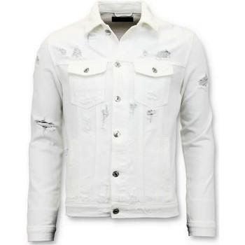 Kleidung Herren Jeansjacken Enos Denim Jacket Zerrissene Denim Weiss Weiß