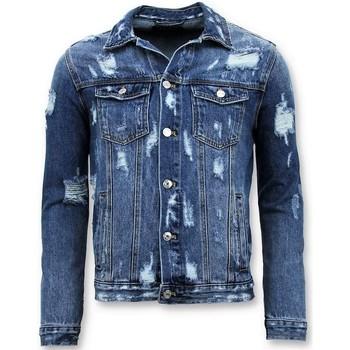 Kleidung Herren Jeansjacken Enos Denim Jacket Zerrissene Denim Blau
