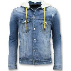 Kleidung Herren Jeansjacken Enos Denim Jacket Zerrissene Mit Kapuze Blau