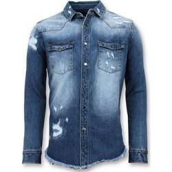 Kleidung Herren Langärmelige Hemden Enos Lange Denim Shirt Denim Bluse Blau