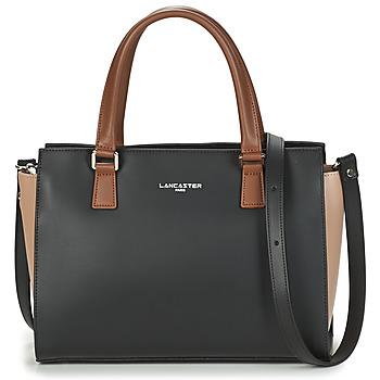 Taschen Damen Handtasche LANCASTER CONSTANCE Schwarz / Beige / Camel