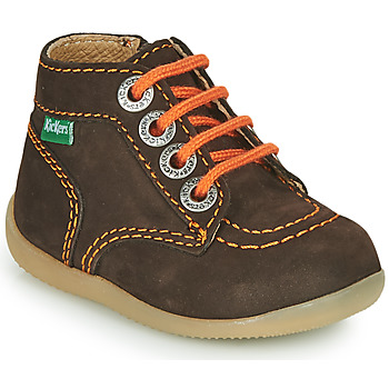 Schuhe Jungen Boots Kickers BONZIP-2 Braun / Orange