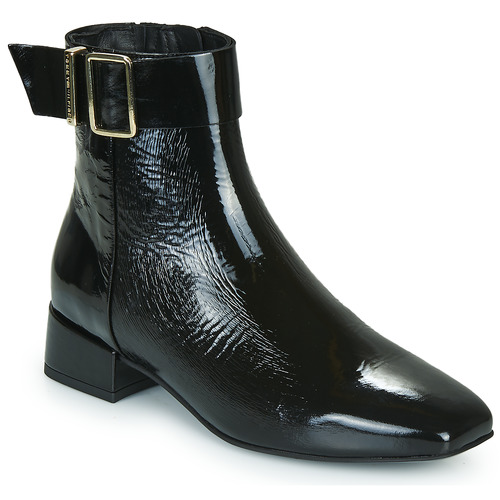 Schuhe Damen Boots Tommy Hilfiger PATENT SQUARE TOE MID HEEL BOOT Schwarz