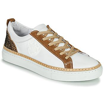 Schuhe Damen Sneaker Low Philippe Morvan CORK V1 NAPPA BLANC Weiss / Camel