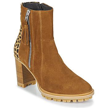Schuhe Damen Low Boots Philippe Morvan LOKS V1 VELOURS CAMEL/LEOP Braun / Leopard