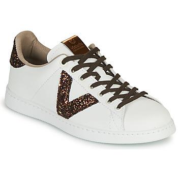 Schuhe Damen Sneaker Low Victoria TENIS PIEL VEG Weiss / Braun