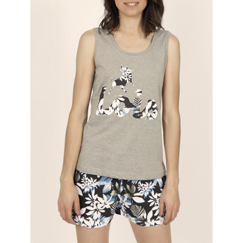 Kleidung Damen Tops Admas Schlafanzug Panzerhemd kurz Lois Jungle khaki Lavendel