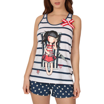 Kleidung Damen Pyjamas/ Nachthemden Admas Pyjamas Tank Top kurz Sommertage Santoro Blau Marine