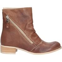 Schuhe Damen Low Boots Made In Italia 0421 Biker Frau Leder Leder