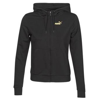 Kleidung Damen Trainingsjacken Puma METALLIC FZ HOODY TR Schwarz / Goldfarben
