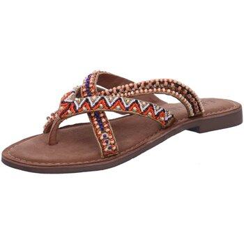 Schuhe Damen Zehensandalen Lazamani Pantoletten 75526 tan braun
