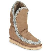 Schuhe Damen Boots Mou ESKIMO INNER WEDGE TALL Beige