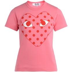 Kleidung Damen T-Shirts Comme Des Garcons Comme Des Garçons Damen T-Shirt Play mit Herz mit rotem Rosa