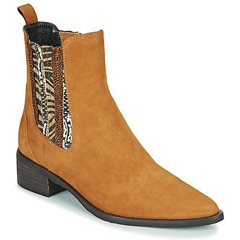 Schuhe Damen Boots Regard BASTIA V3 VEL HAVANE Braun