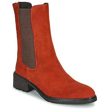 Schuhe Damen Boots Regard DAMGAN V2 VELOURS CHATAIGNE Rot
