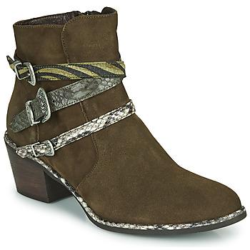 Schuhe Damen Low Boots Regard NAPOLI V3 VELOURS MILITARE Kaki