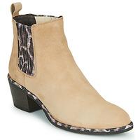 Schuhe Damen Low Boots Regard NOISY V7 VELOURS SAFRAN Beige