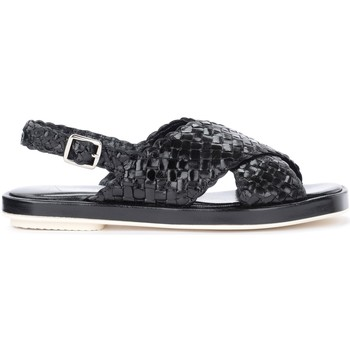 Schuhe Damen Sandalen / Sandaletten Pon´s Quintana Sandalen in geflochtenem Leder Schwarz Schwarz