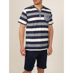 Kleidung Herren Pyjamas/ Nachthemden Admas For Men Homewear-Pyjamashorts T-Shirt Griechenland blau Admas Blau