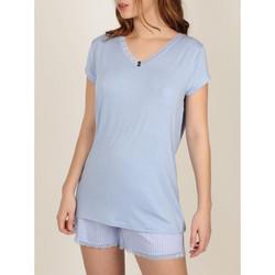 Kleidung Damen Pyjamas/ Nachthemden Admas Frisches und weiches -Pyjama-Shorts-T-Shirt Blau