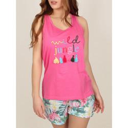 Kleidung Damen Pyjamas/ Nachthemden Admas Pyjama-Shorts Tank-Top Wild Jungle rosa Zartrosa