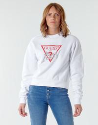 Kleidung Damen Sweatshirts Guess ICON FLEECE Weiss