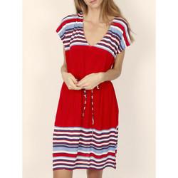 Kleidung Damen Kurze Kleider Admas Elegantes gestreiftes kurzärmeliges Sommerkleid rot Sand