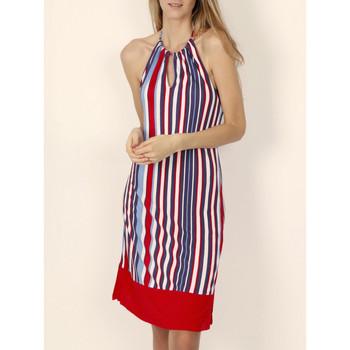 Kleidung Damen Kurze Kleider Admas Elegant gestreiftes rotes Sommer-Neckholderkleid von Sand