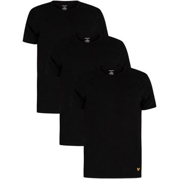 Kleidung Herren T-Shirts Lyle & Scott 3er Pack Maxwell Lounge Crew T-Shirts schwarz