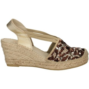 Schuhe Damen Leinen-Pantoletten mit gefloch Vidorreta 18400 SPOTTED