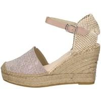Schuhe Damen Leinen-Pantoletten mit gefloch Vidorreta 06900 ROSA