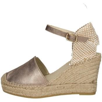 Schuhe Damen Leinen-Pantoletten mit gefloch Vidorreta 06900 BRONZE