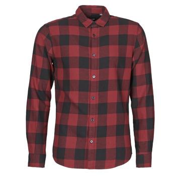 Kleidung Herren Langärmelige Hemden Only & Sons ONSGUDMUND Bordeaux / Schwarz