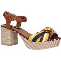 Schuhe Damen Leinen-Pantoletten mit gefloch Gioseppo 48783-SALONICA Marr?n