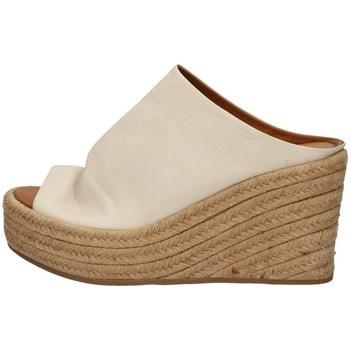Schuhe Damen Leinen-Pantoletten mit gefloch Inuovo 437005 WEISS