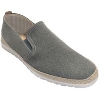 Schuhe Herren Hausschuhe Calzamur Leder Innensohle aus Hanf mit Hanfkante Grau