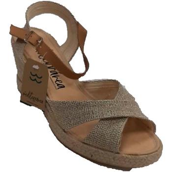 Schuhe Damen Sandalen / Sandaletten Calzamur Damen Keil Sandale gekreuzte Träger Fers Gold